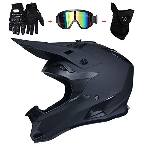 AMITD Motocross BMX Helm Matt Schwarz Motorrad Crosshelm Enduro MTB Helm Fullface Fahrrad Helm Cross Helm Motorradhelm Set mit Brille Handschuhe Maske, C, M