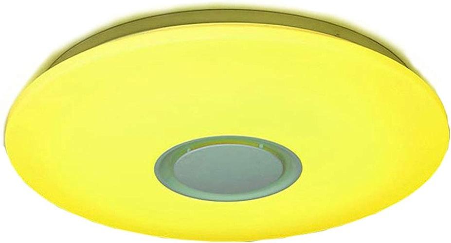 HshDUti Décoration de pièce de lampe de Contrôle de haut-parleur APP de plafond de plafonnier de 24W LED Dimmable RVB bleutooth 24w no RC