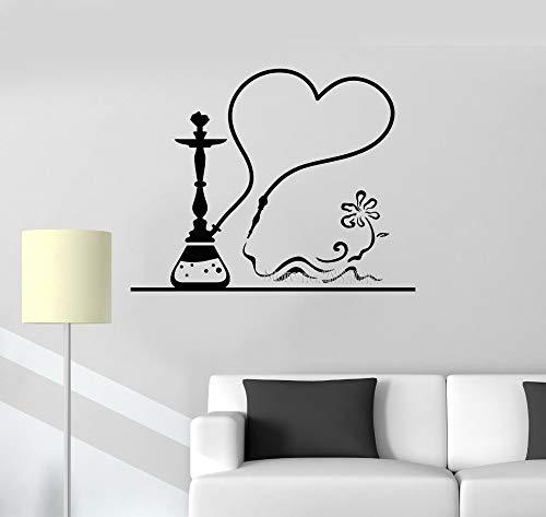 Pegatinas de Pared Adhesivos Pared Calcomanías Adhesivas de Vinilo Hookah Smoke Shisha Bar Decor Art Design Mural Wallpapers 128x101cm