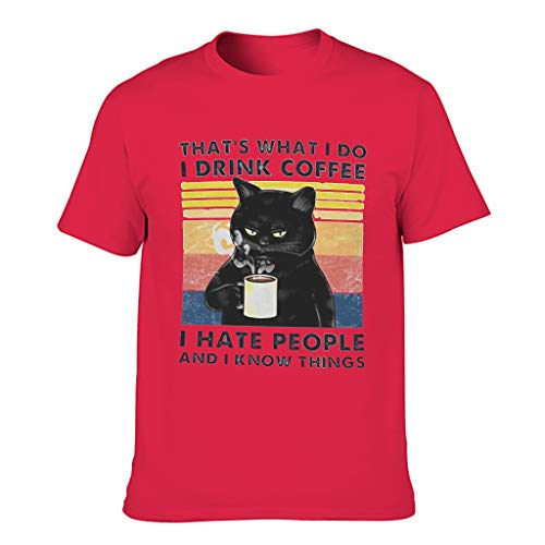 Xuanwuyi Cat-That's-What-i-do-i-Drink-Coffee-i-Hate-People-and-i-Know-Things - Camiseta para adultos, varios patrones para padre, madre, hijo, etc