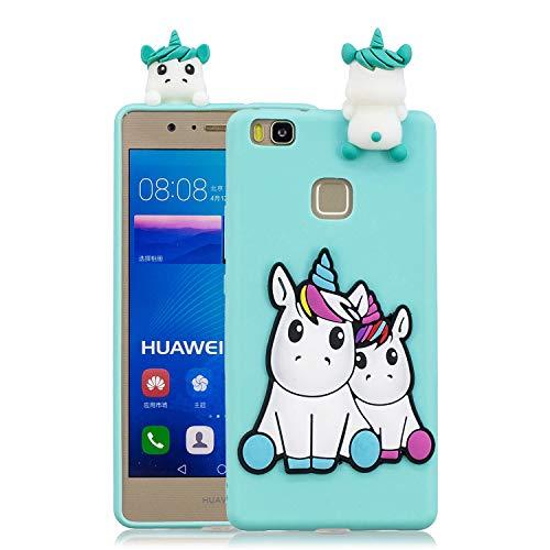 Funluna Funda Huawei P9 Lite, 3D Unicornio Patrón Cover Ultra Delgado TPU Goma Cover Suave Flexible Carcasa Silicona Gel Anti-Rasguño Protectora Espalda Caso Bumper Case para Huawei P9 Lite