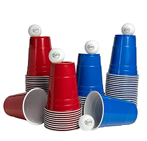 BOPS® [50+5 Premium Bierpong Becher Set | 25 rote + 25 Blaue Wiederverwendbare Partybecher + 5 Bälle | 473ml 16oz Beerpong Cups
