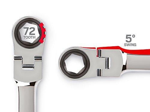 TEKTON WRN77113 Extra Long Flex-Head Ratcheting Box End Wrench, 17 mm x 19 mm