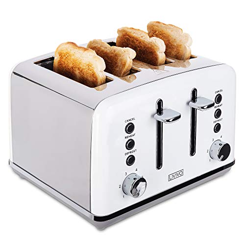 LIVIVO Stylish 4 Slice Toaster with Extra Wide Slots - 6 Browning Bread Toast Settings - Reheat Defrost & Cancel Functions ? High Lift ? Removable Slide On Crumb Tray 1750w ? Stainless Steel - White