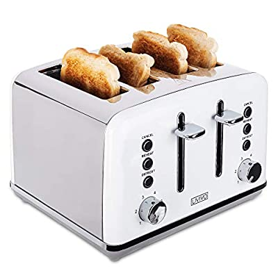 LIVIVO Stylish 4 Slice Toaster with Extra Wide Slots - 6 Browning Bread Toast Settings - Reheat Defrost & Cancel Functions – High Lift – Removable Slide On Crumb Tray 1750w – Stainless Steel - White