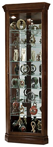 Howard Miller Compton Corner Curio Cabinet 547-181 – Cherry Bordeaux Glass Display Shelf Case with Light