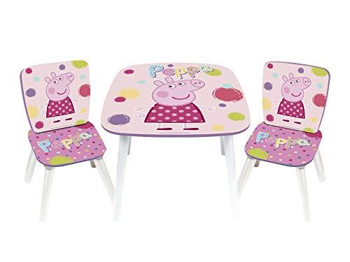 Peppa Pig Set Tavolo E 2 Seggioline in Legno