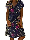 ORANDESIGNE Vestidos de Camiseta para Mujer Tallas Grandes Verano Casual Color Sólido Camisa Larga E Azul Oscuro 48