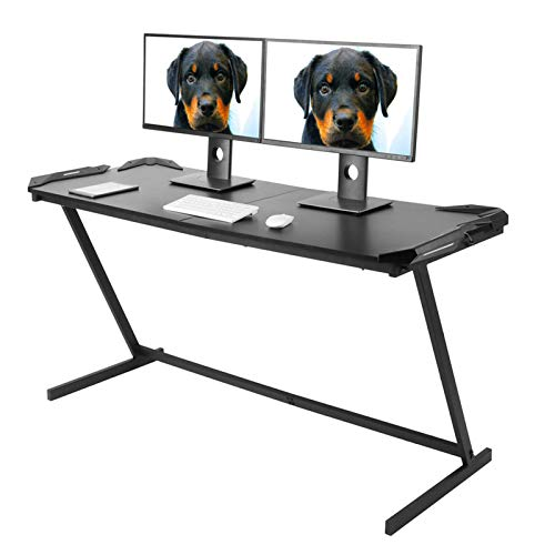 AYNEFY Mesa de ordenador Gaming grande 150 x 60 cm PC mesa con luz LED en forma de Z mesa de trabajo ergonómica para portátil de acero para sala de estar, oficina u despacho, color negro
