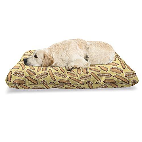 ABAKUHAUS Hotdog Haustierbett, Brot, Wurst und Senf, beissfestes Kissen für Hunde und Katzen mit abnehmbaren Bezug, 60 cm x 100 cm, Senf und Mandel
