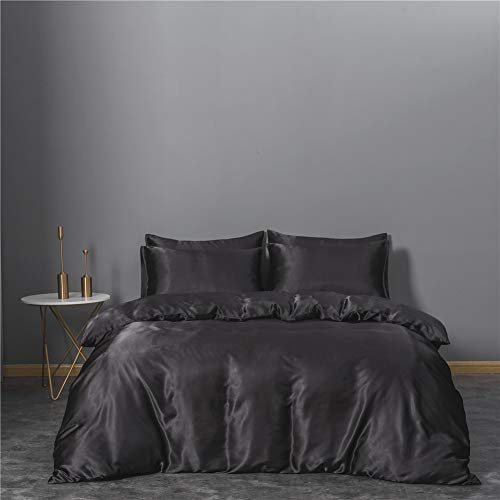 Super Soft and Cool Bedding, Suitable for Summer Duvet Cover Pillowcase, BlackTHANGY