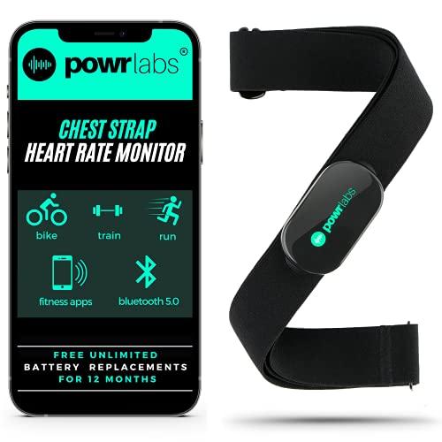 Powr Labs Heart Rate Monitor Chest Strap - ANT + Bluetooth Chest Heart Rate Monitor with Chest Strap - HRM Run Bike Tri Cycling - Chest Strap Heart Monitor for Strava Zwift Wahoo Garmin Polar Peloton