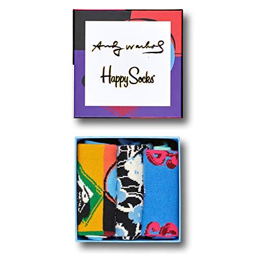 Happy Socks Calcetines Unisexo Andy Warhol Gift Box Paquete de 3 Tamaño 41-46