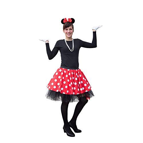Oblique Unique® Damen Maus Mouse Kostüm Rot Weiß Schwarz mit Rock Gepunktet + Perlen Kette + Maus Ohren Haarreifen mit Schleife + Handschuhe + Overknee Strümpfe für Fasching Karneval Motto Party
