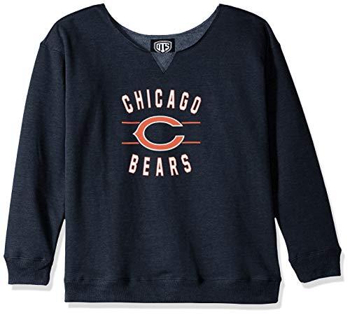 OTS NFL Chicago Bears Women's Singleback Fleece Pullover, Rush Valley, Large
