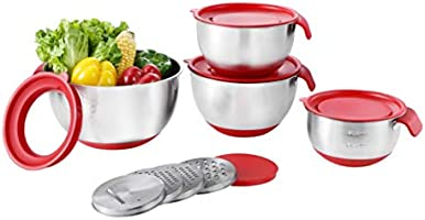 Stainless Steel Mixing Bowls with Airtight Lids, Non-Slip Serving Bowl Set of 3 for for Kitchen Cooking Baking Food...