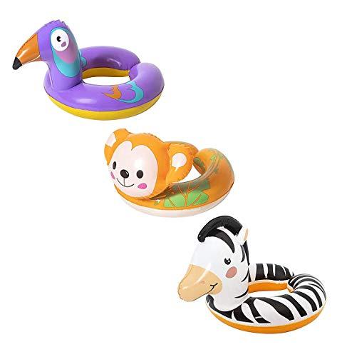 Bestway Schwimmring mit Tierkopf 3-6 Jahre (3er Pack (AFFE, Zebra & Vogel))