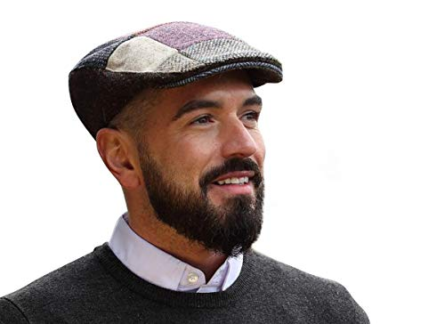 Hanna Hats Donegal Touring Cap Tweed Mütze (Braun Patch, M)