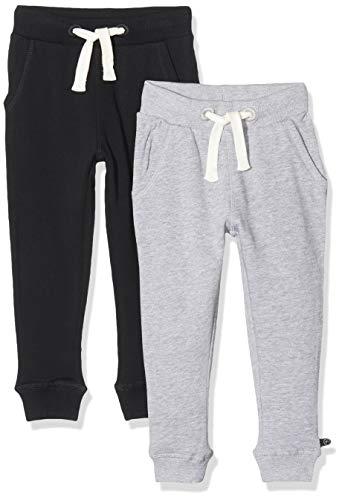 MINYMO Jungen Minymo 2er Pack Sweat Pants/Freizeithose fürJungen Hose, Mehrfarbig (Dunkel Grau/Schwarz 193), 92 EU