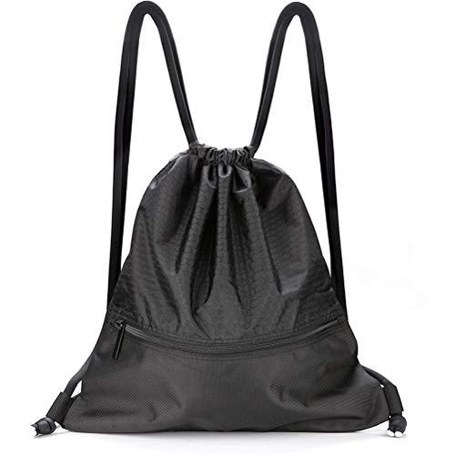 VASKER Large Drawstring Bag String Backpack Water Resistant Gym Sackpack Pockets 3 Colors for Choice Women Men Black
