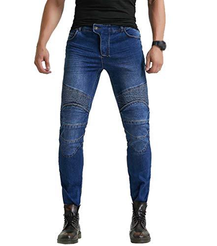 Yuanu Hombre Stretch Slim Fit Pantalon Vaquero Moto con Protecciones de Rodilla...