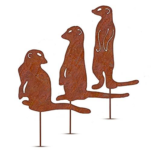Glaskönig Decorazione da giardino a forma di suricato, set da 3 pezzi – 3 diversi spine da giardino in ferro arrugginito da 2 mm con manici saldati – decorazione per aiuole e giardino