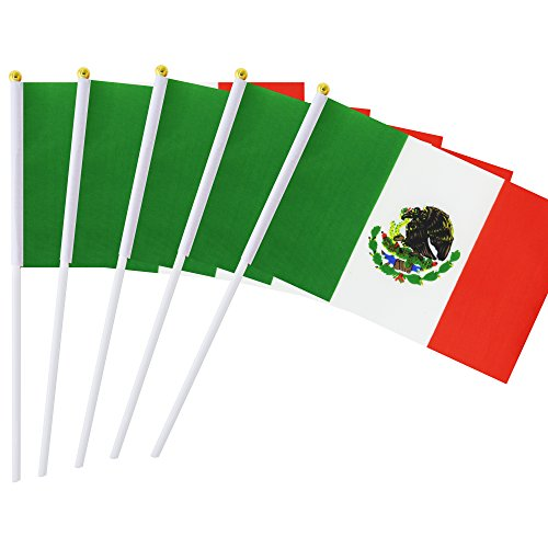 Kind Girl 25 Pack Hand Held Small Mini Flag Mexico Flag Mexican Stick Flag Round Top National Country Flags,Party Decorations Supplies for Parades,World Cup,Festival Events,International Festival
