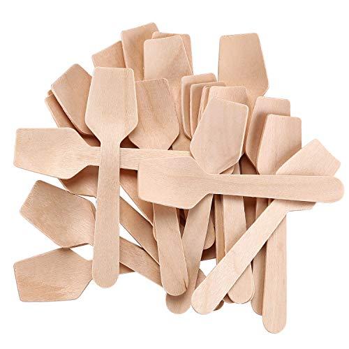 Gmark 4' Mini Wooden Spoons Pack of 200, Disposable Square End Tasting Spoon, Sampling Yogurt Spoon Ice Cream Spoon, Biodegradable Compostable Birchwood GM1101
