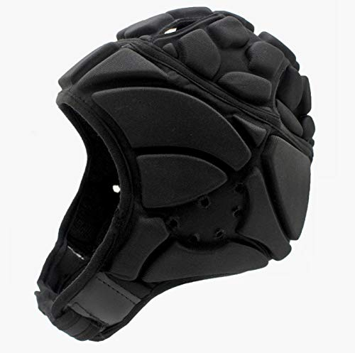Tychon Premium Soft Padded Headgear - Protection Scrum Cap for Youth & Adults - Soft Helmet for Flag Football 7 on 7, Rugby Sports & Seizures - Head Protective Helmet Fall Protection (Black, L)