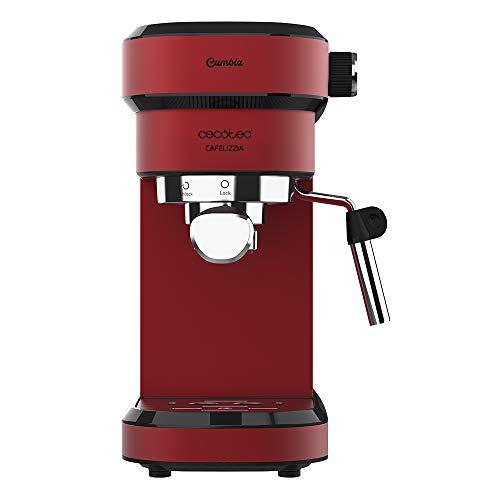 Cecotec Cafetera express Cafelizzia 790 Shiny. Espressos y Cappuccino, 1350 W, Sistema Thermoblock, 20 Bares, Modo Auto para 1-2 Cafés, Vaporizador Orientable, 1.2L, Rojo