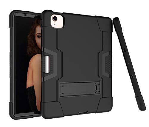Case iPad Air 4th Generation (iPad Air 10.9 Inch 2020), 360° Shockproof Anti-scratch Cover/PC + Silicone 3-In-1/Heavy Duty Tough Aromr/Kickstand for iPad Air 4th Generation 10.9' 2020-Black/Black