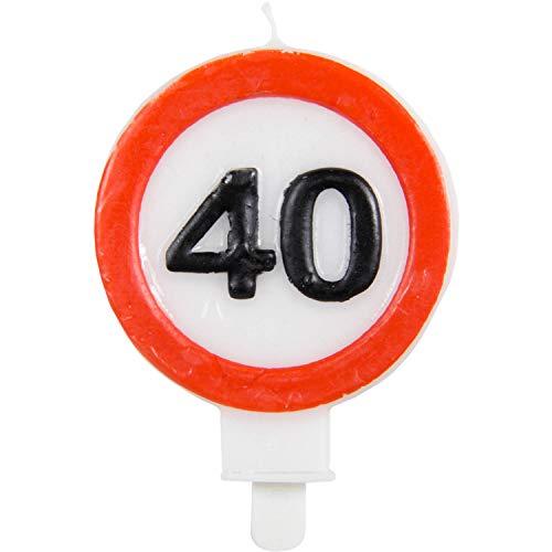 Vela de cumpleaños Party Collection vela 40 en forma de señal de tráfico 6x8.5cm