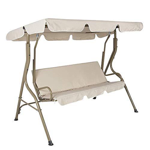 Hoes voor schommelstoel, 210D Oxford vervangende luifel voor schommelzitplaats 2 & 3-zitsafmetingen Hangmat bovenhoes (alleen hoes, geen schommelstoel),Beige,190x132x15cm