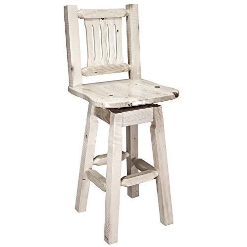 Montana Woodworks Homestead Collection Barstool with Back and Swivel, Ergonomic Wooden Seat, Clear Lacquer Finish
