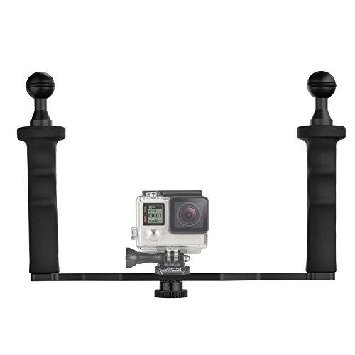 D&F Agarre de Mano Dual de Aleación de Aluminio Handheld Estabilizador de Mano Grip vídeo para GoPro Hero 7/6/5/4/3 /3 SJCAM SJ4000/5000/6000 Xiaomi Yi 24K & Cámara Videocámara LED Luz y Dome