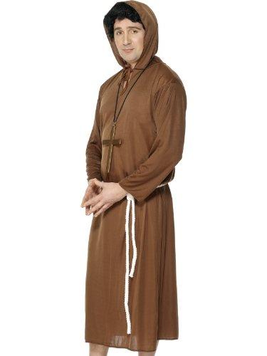Smiffys Disfraz de Monje, Marrón, con túnica con Capucha y cinturón, Color, M (Smiffy\'S 20424M)
