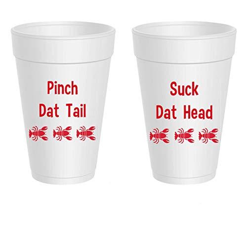 Crawfish Styrofoam Cups - Suck Dat Head, Pinch Dat Tail