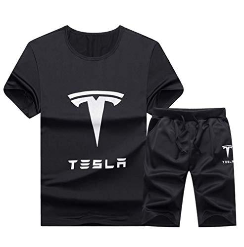 JJZXLQ Hombres Verano Casual Manga Corta Tesla Camiseta Sola Sola Sola Sola Sola Botones Camisas Cuello Redondo Algodón, Negro, XXL