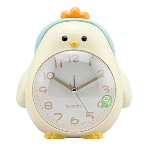VOSAREA Kinder Wecker Cartoon Huhn Wecker Nachtlicht Stille Wecker für Kinderzimmer Dekoration Kinder Geburtstagsgeschenk ohne Batterien (Beige)