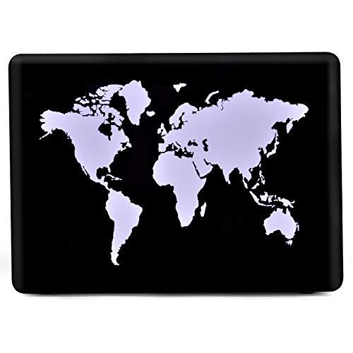 L2W - Carcasa rígida para MacPro de 13 pulgadas (modelos: A2338 M1/A2289/A2251/A2159/A1989/A1708/A1706,2016-2020), diseño de mapa del mundo tallado
