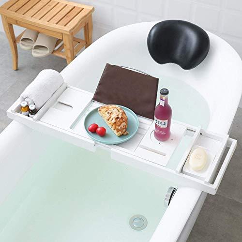 XHLLX Bandeja de bañera con almohada, estante de bañera, mesa de bambú ajustable con caja de jabón, soporte de toalla de baño, soporte de copa de vino, estante de lectura, bandeja de teléfono, etc