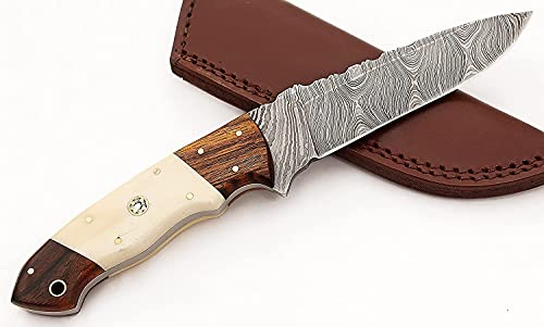 Handmade Damascus Steel Fixed Blade Skinning Hunting Knife With Sheath Best Edc Survival Camping Outdoor Knives For men 2709