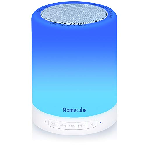 Portable Bluetooth Speaker Touch Lamp, Homecube Bedside Lamp with Dimmable Mood Night Light, Ideal Gifts for Women Men Teens Kids (White)