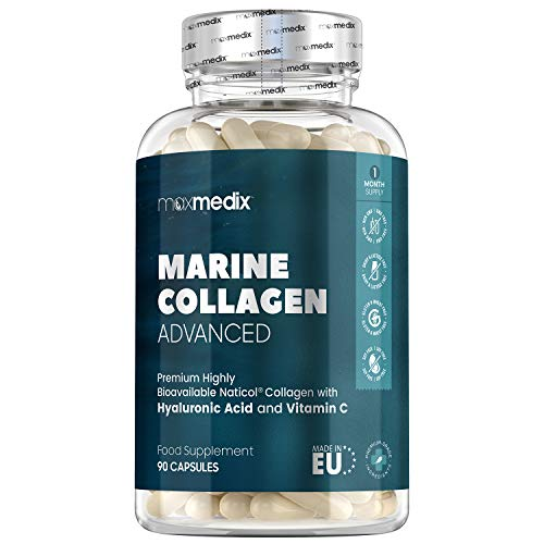 Marine Collagen with Hyaluronic Acid, Vitamin C - 1200mg - 90 Capsules - Hydrolyzed NatiCOL Marine Collagen Peptides Supplement for Hair, Skin & Nails, Pure Wild Caught Fish Collagen - Made in UK