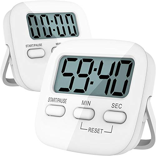 Kitchen Timer, 2 Pack Digital Kids Timers [ Upgraded Version ] Magnetic Countdown Timer with Loud Alarm, Big Digits, Back Stand for Cooking, Classroom, Bathroom, Teachers, Kids - AAA Battery Included
