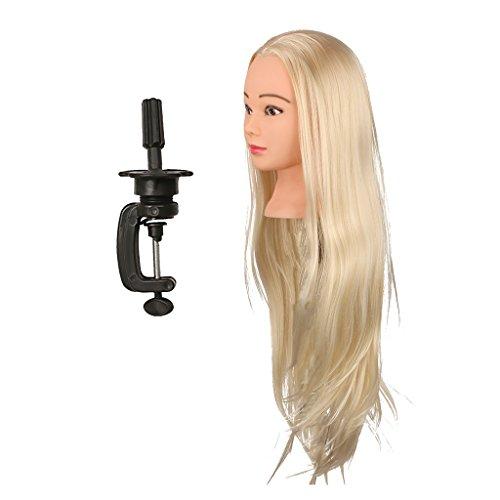 Fenteer Têtes D'exercice Tête À Coiffer Cheveux Naturel Coiffure Cosmétologie Pratique Mannequin Poupée de Formation d'exercice pour Salon Coiffure - Couleur de peau, 26