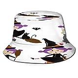 PUIO Sombrero de Pesca,Bruja Linda Vector Set Halloween,Senderismo para Hombres y Mujeres al Aire Libre Sombrero de Cubo Sombrero para el Sol