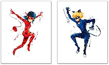 Miraculous: Tales of Ladybug and Cat Noir Prints - Set of 2 (8x10) Poster Prints Watercolour Wall Art Decor