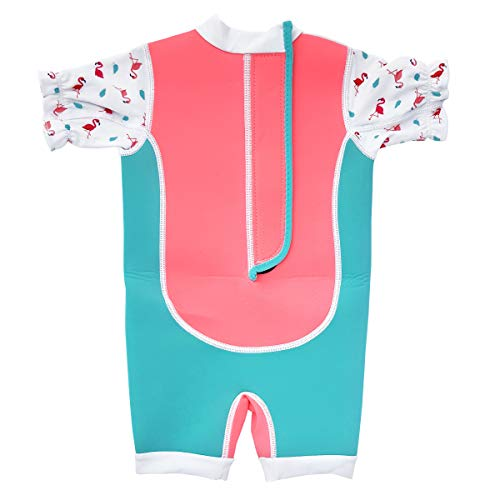 Cheekaaboo Chittybabes UPF50 One Piece Thermal Swimsuit for Baby and Toddler, 6-12 Months, Salmon Pink/Flamingo