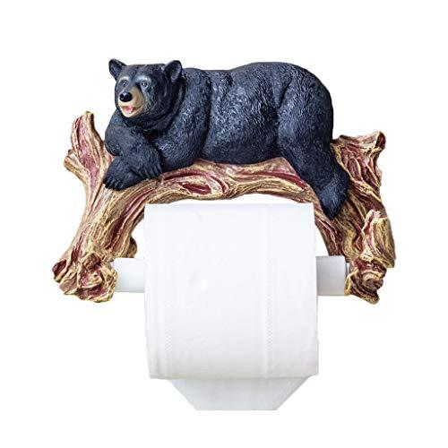 ZH Support mural pour serviette de papier hygiénique mural, ours noir et brun, noir et blanc, 21x16cm